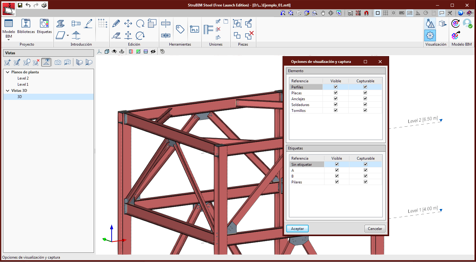 StruBIM Steel. Barra de herramientas. Visualización